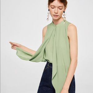 Mango Flowy Abstract Double Layer Blouse